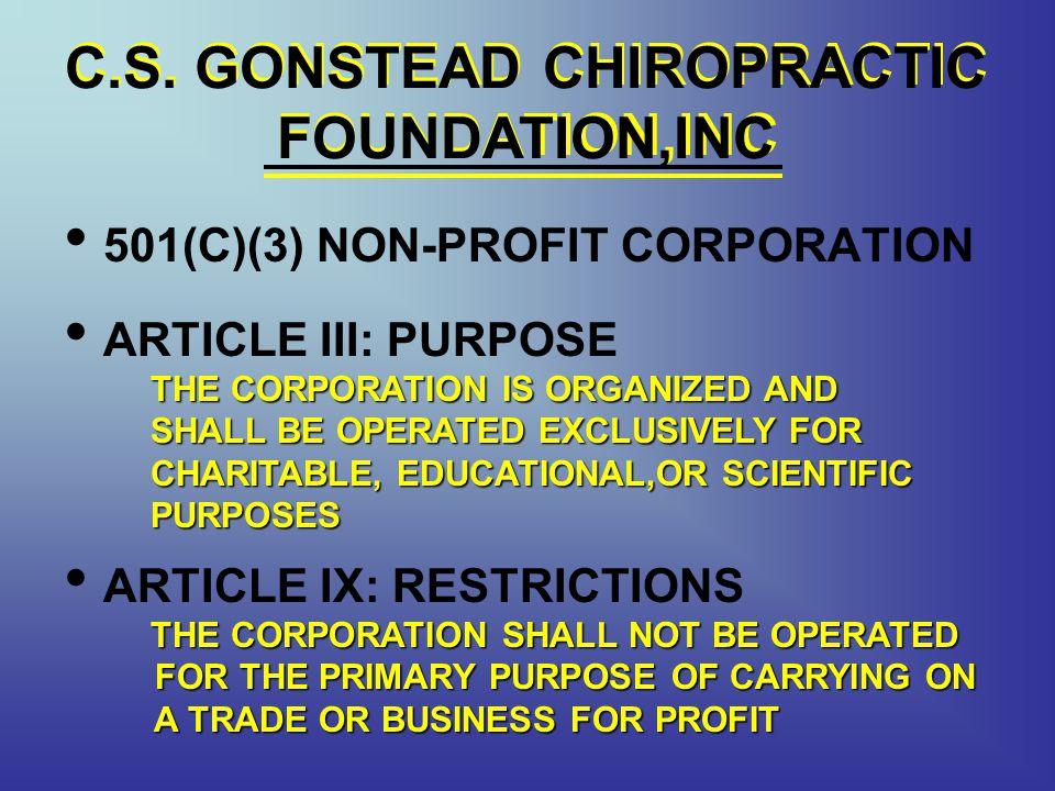 C.S. GONSTEAD CHIROPRACTIC FOUNDATION,INC