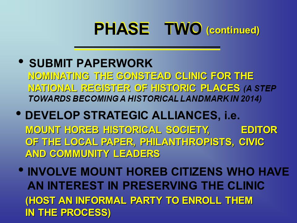 PHASE TWO PHASE TWO SUBMIT PAPERWORK DEVELOP STRATEGIC ALLIANCES, i.e.