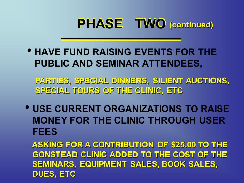 PHASE TWO PHASE TWO. (continued) HAVE FUND RAISING EVENTS FOR THE PUBLIC AND SEMINAR ATTENDEES,
