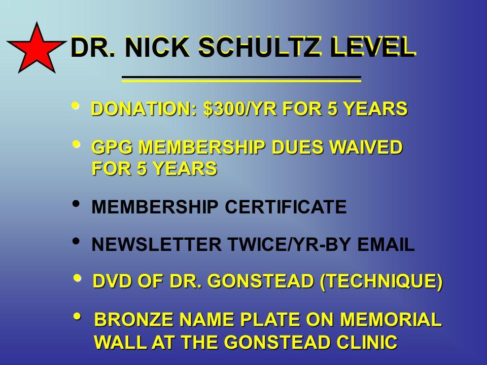 DR. NICK SCHULTZ LEVEL DR. NICK SCHULTZ LEVEL