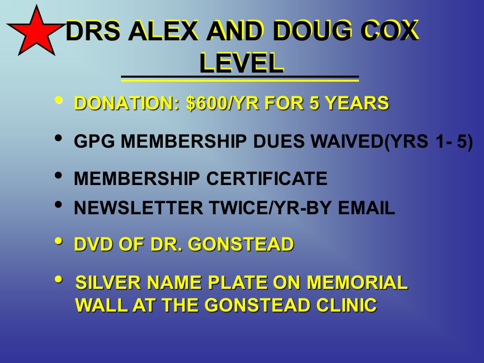 DRS ALEX AND DOUG COX LEVEL