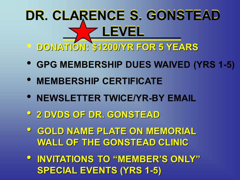 DR. CLARENCE S. GONSTEAD LEVEL