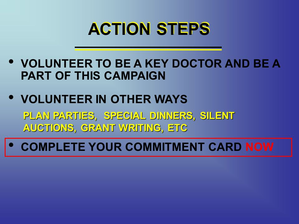 ACTION STEPS ACTION STEPS