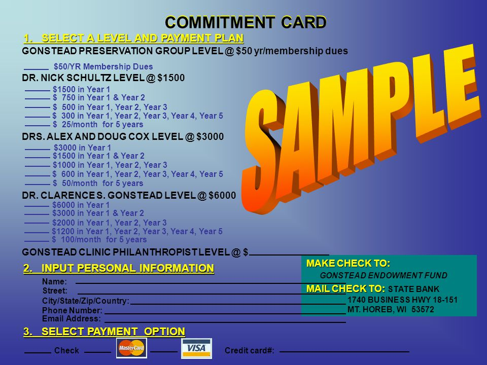 SAMPLE COMMITMENT CARD COMMITMENT CARD
