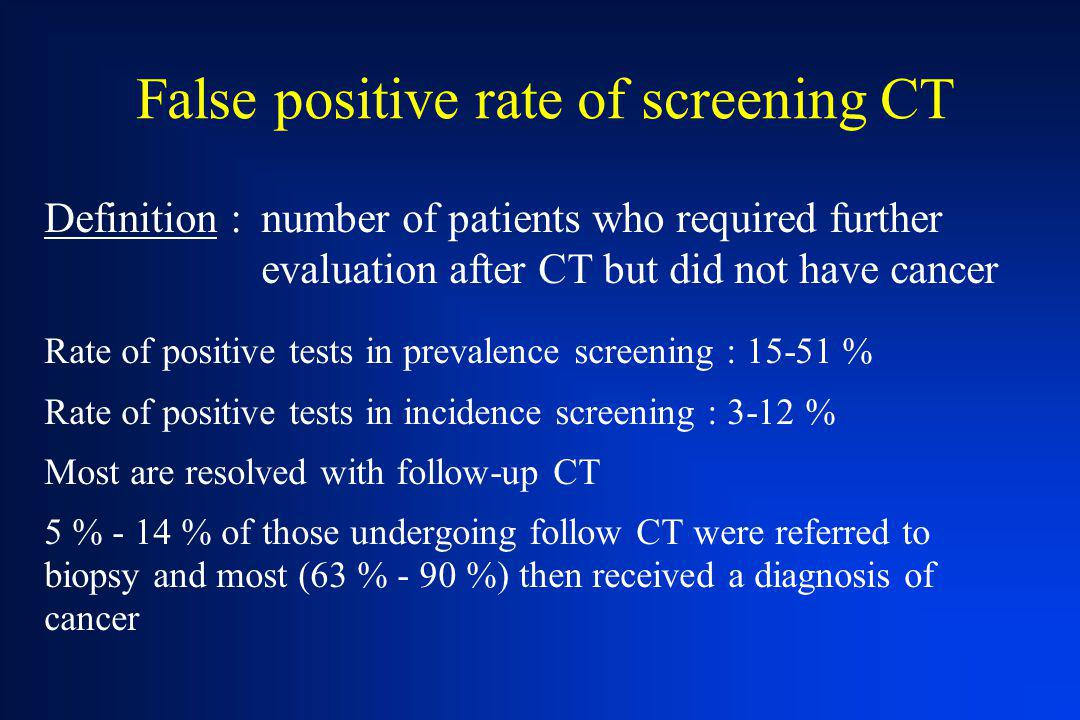 False positive rate of screening CT