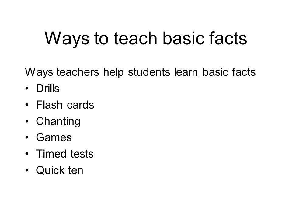 Ways to teach basic facts