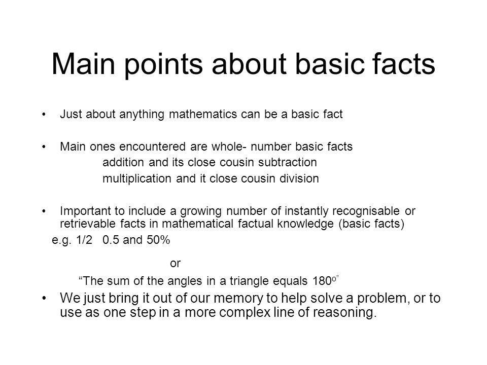 Main points about basic facts