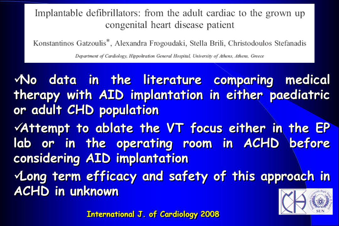 Long term efficacy and safety of this approach in ACHD in unknown