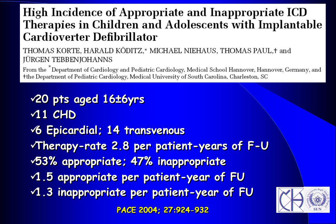 6 Epicardial; 14 transvenous Therapy-rate 2.8 per patient-years of F-U