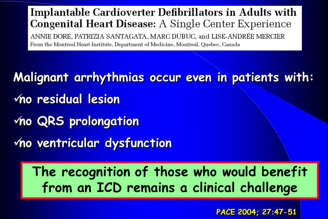 Malignant arrhythmias occur even in patients with:
