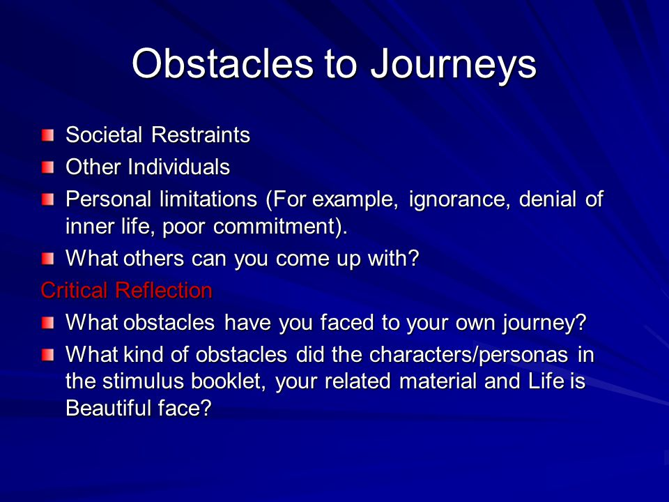 Obstacles to Journeys Societal Restraints Other Individuals