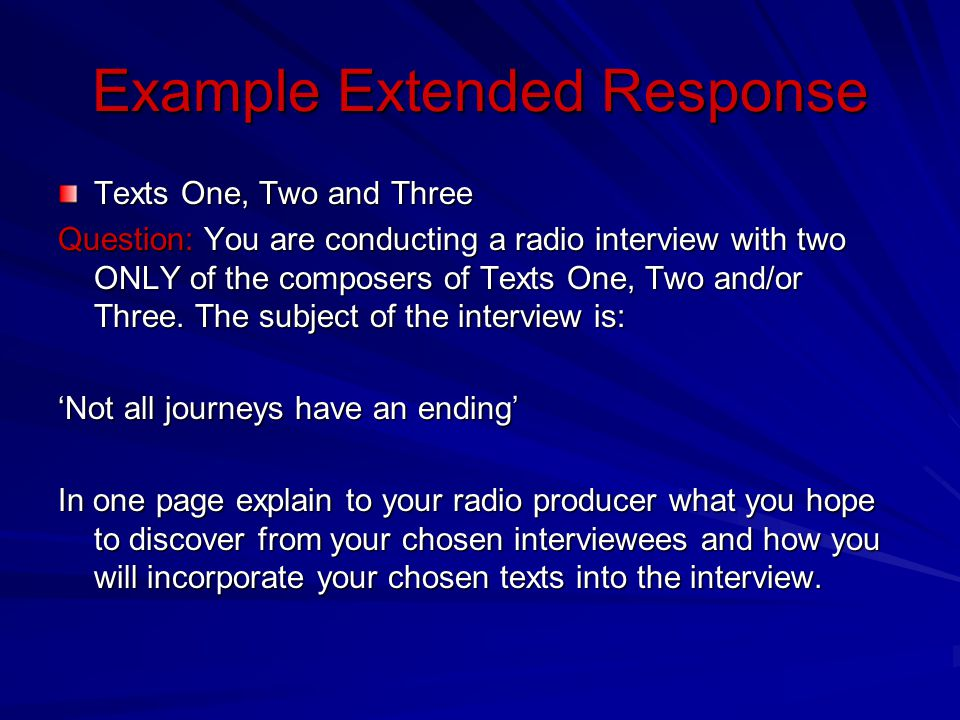 Example Extended Response