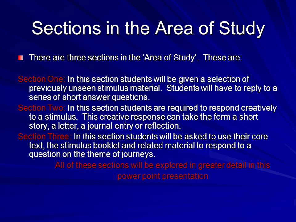 Sections in the Area of Study
