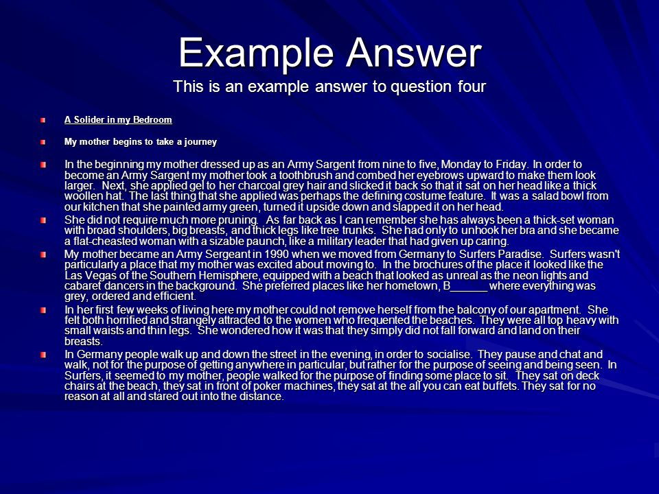 Example Answer This is an example answer to question four