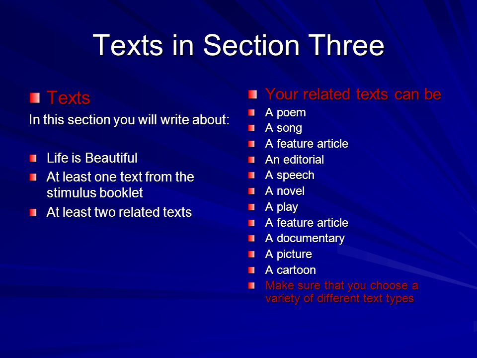 Texts in Section Three Texts Your related texts can be