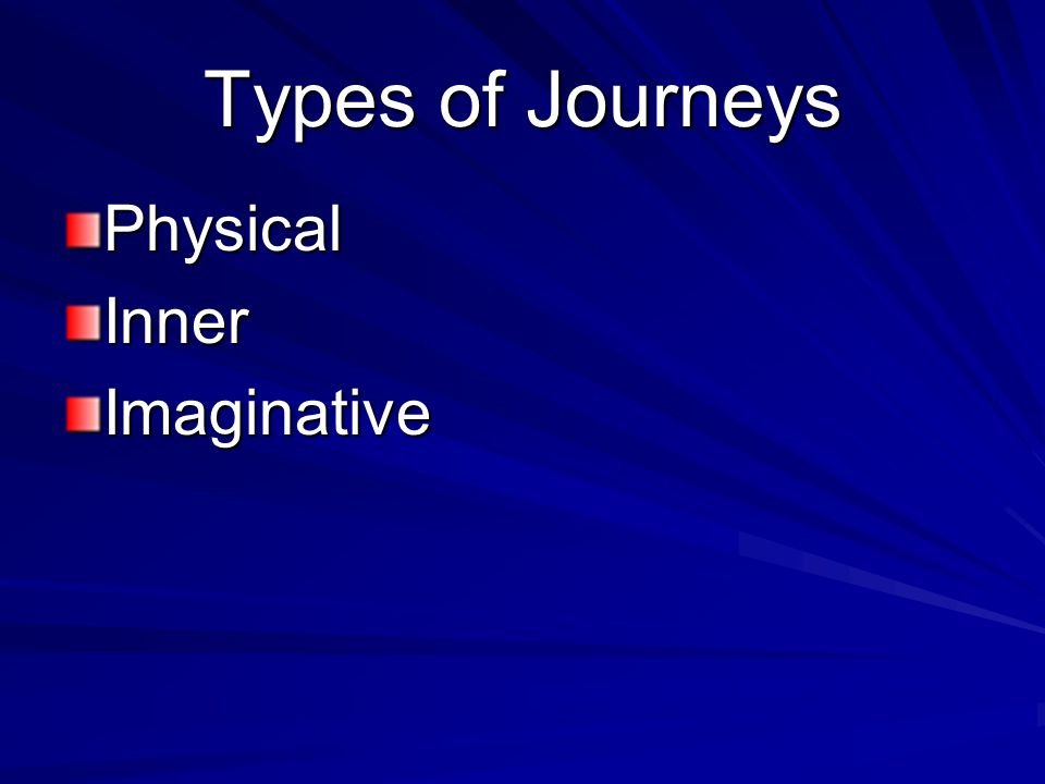 Types of Journeys Physical Inner Imaginative