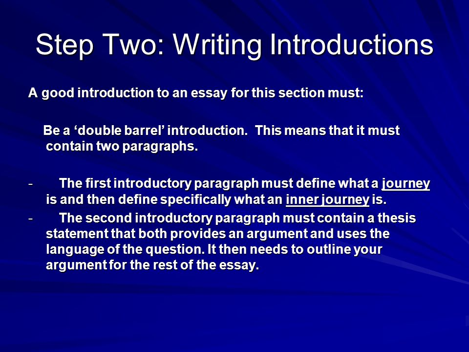 Step Two: Writing Introductions