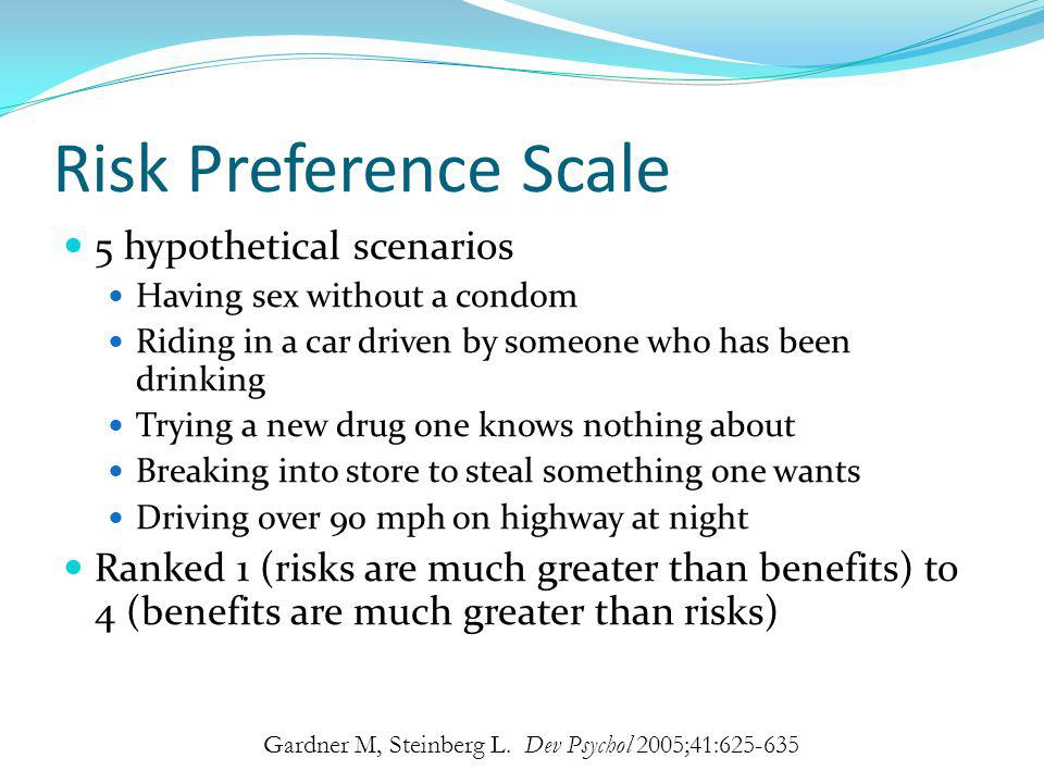 Risk Preference Scale 5 hypothetical scenarios