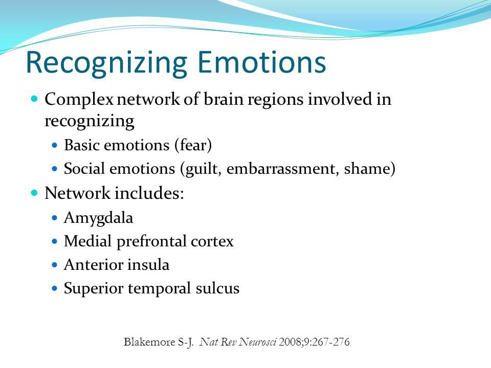 Recognizing Emotions Complex network of brain regions involved in recognizing. Basic emotions (fear)