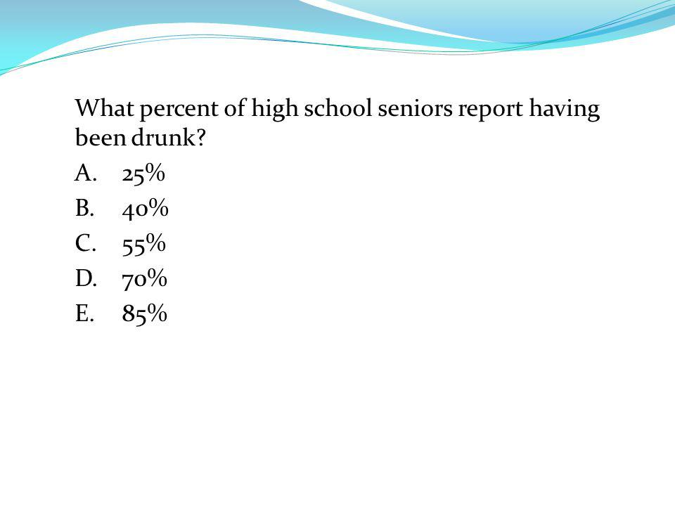 What percent of high school seniors report having been drunk. A. 25% B