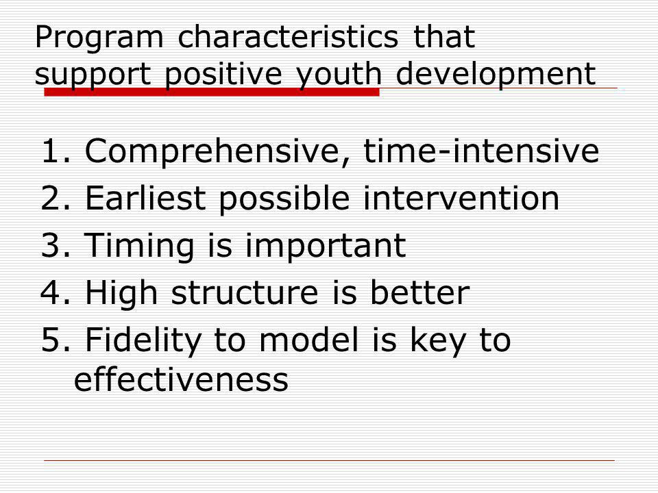 Program characteristics that support positive youth development