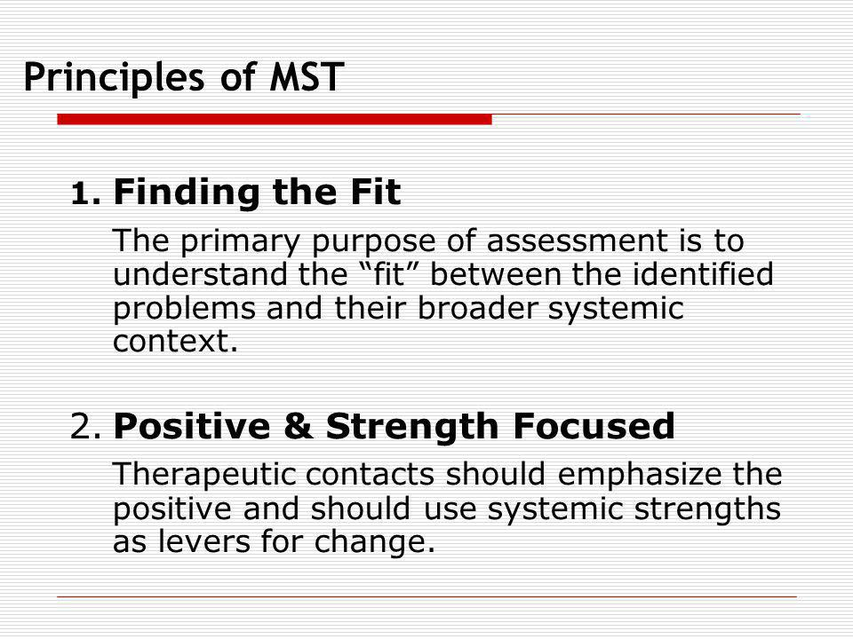 Principles of MST 1. Finding the Fit.