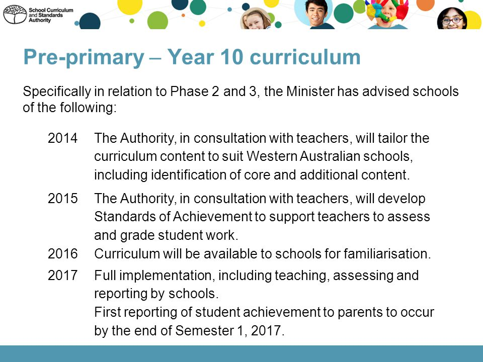 Pre-primary – Year 10 curriculum