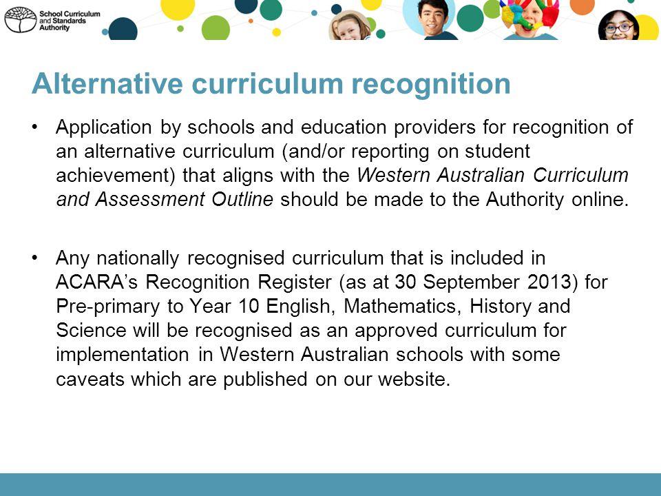 Alternative curriculum recognition