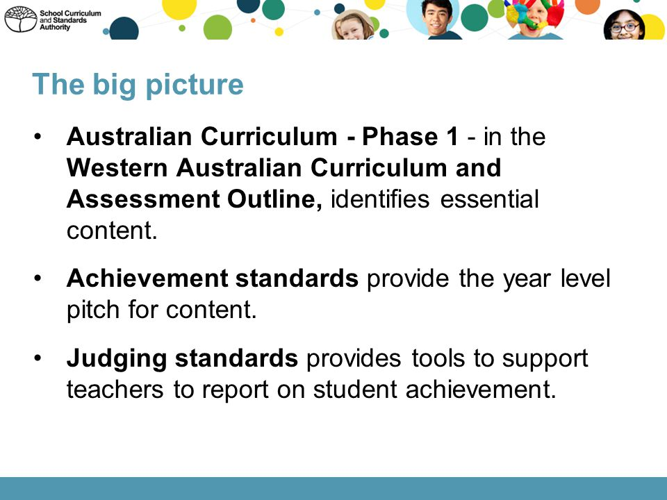 The big picture Australian Curriculum - Phase 1 - in the Western Australian Curriculum and Assessment Outline, identifies essential content.