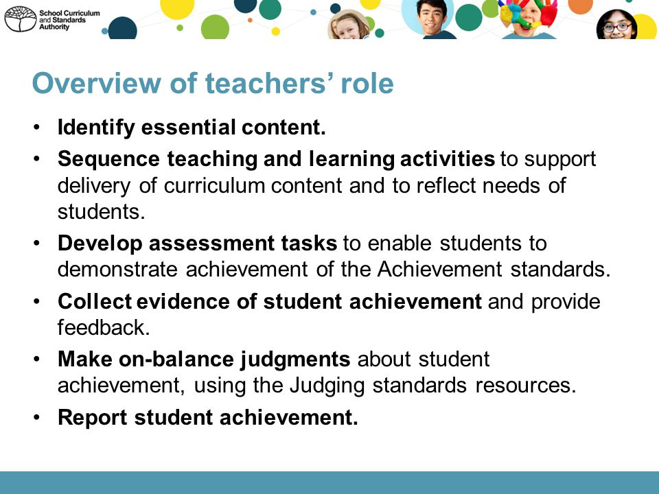 Overview of teachers' role