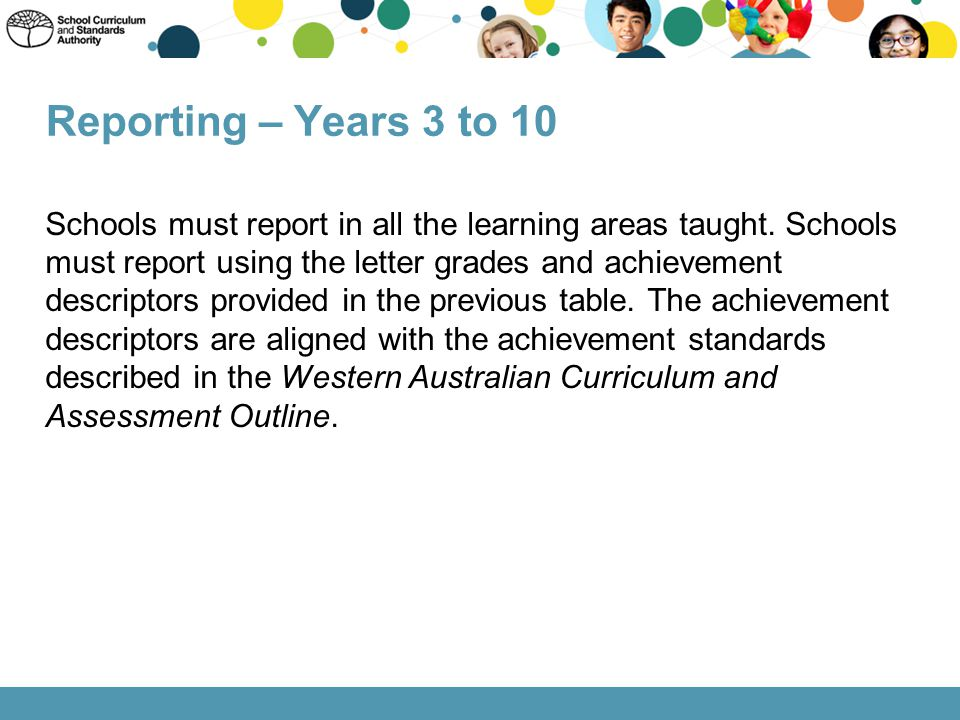 Reporting – Years 3 to 10