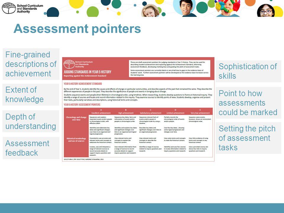 Assessment pointers Fine-grained descriptions of achievement