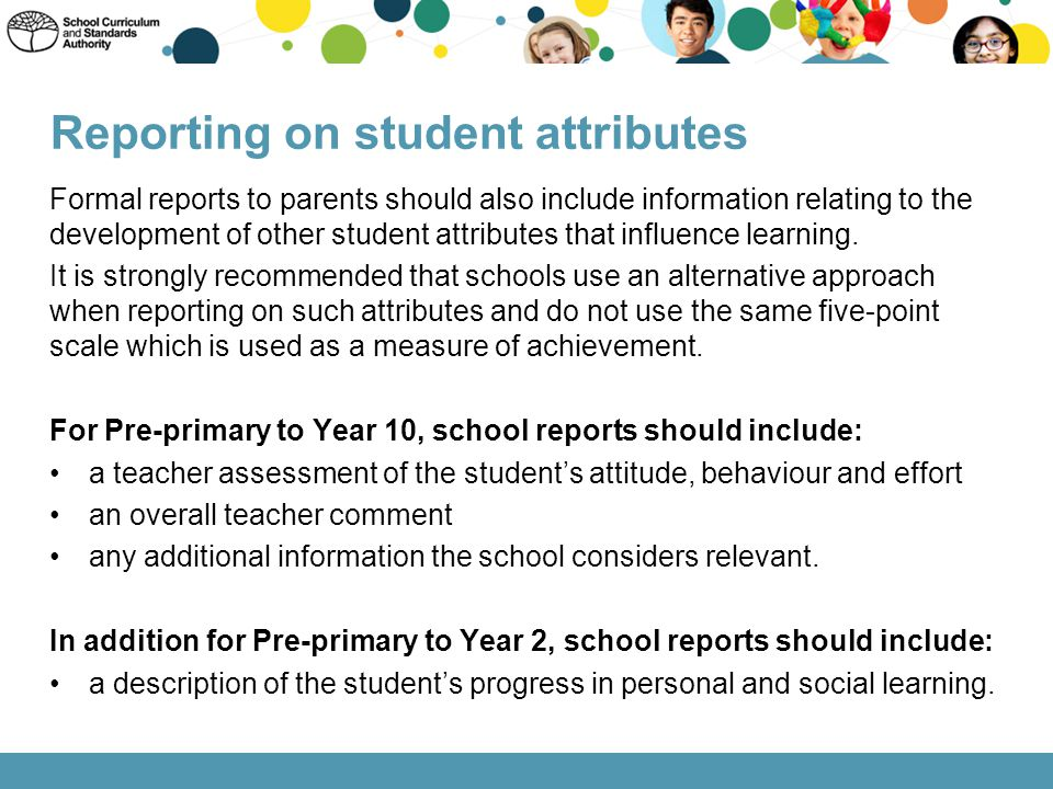Reporting on student attributes