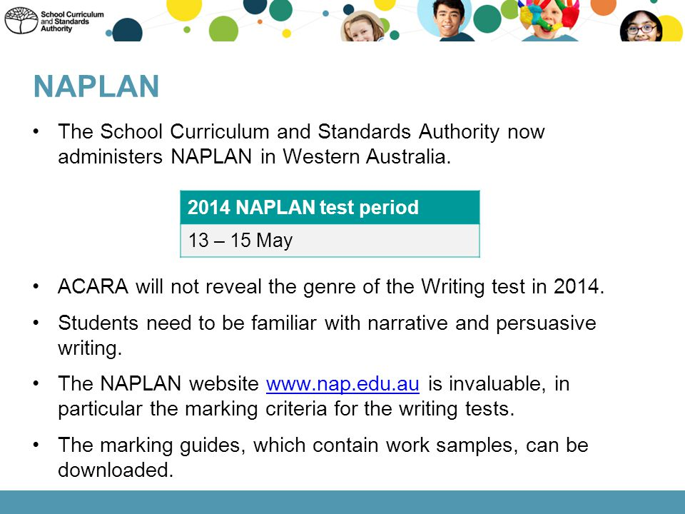 NAPLAN The School Curriculum and Standards Authority now administers NAPLAN in Western Australia.