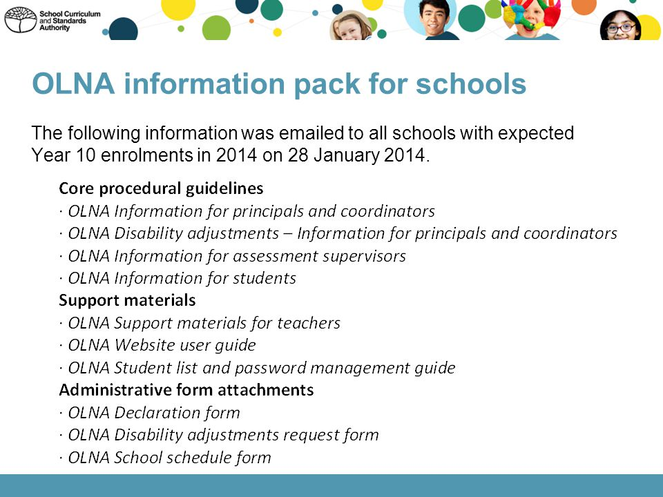 OLNA information pack for schools