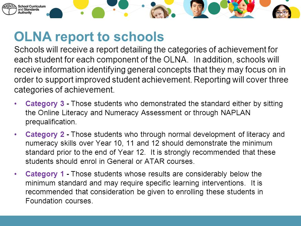 OLNA report to schools