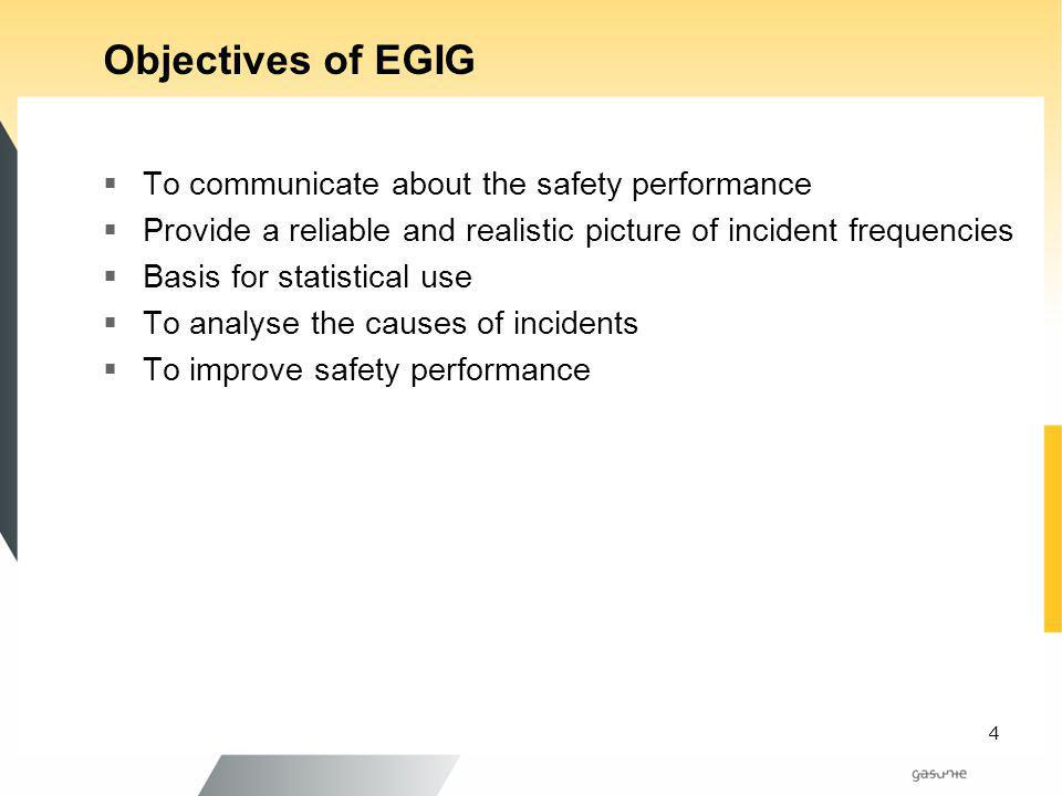 Objectives of EGIG To communicate about the safety performance