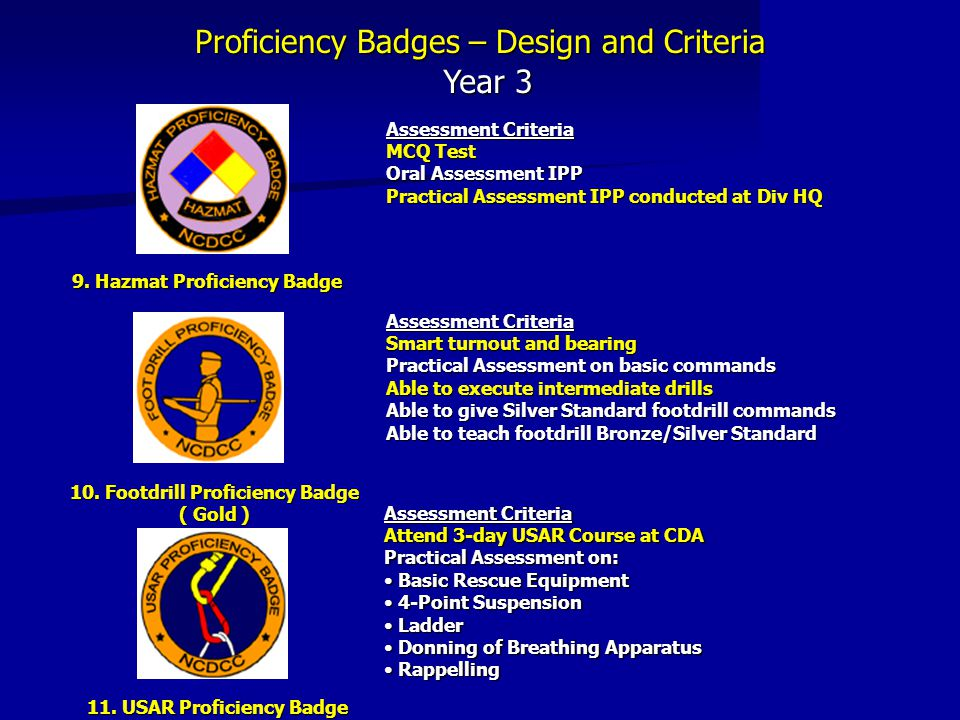 Proficiency Badges – Design and Criteria Year 3