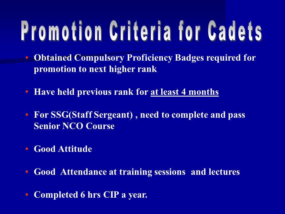 Promotion Criteria for Cadets