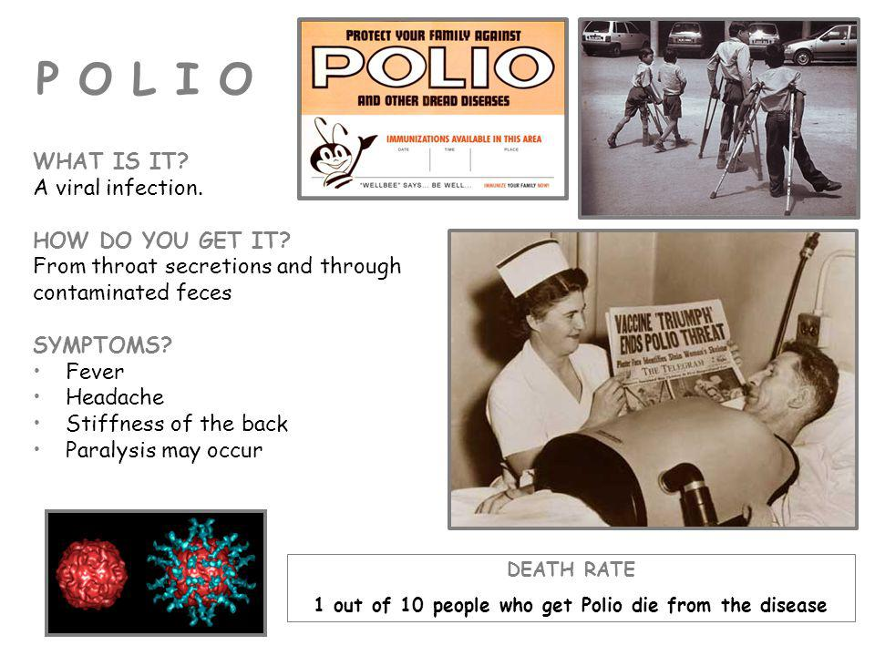 1 out of 10 people who get Polio die from the disease