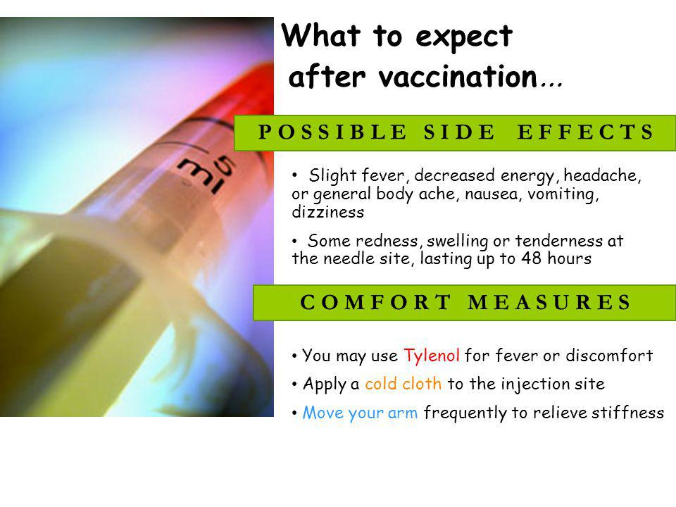 What to expect after vaccination…