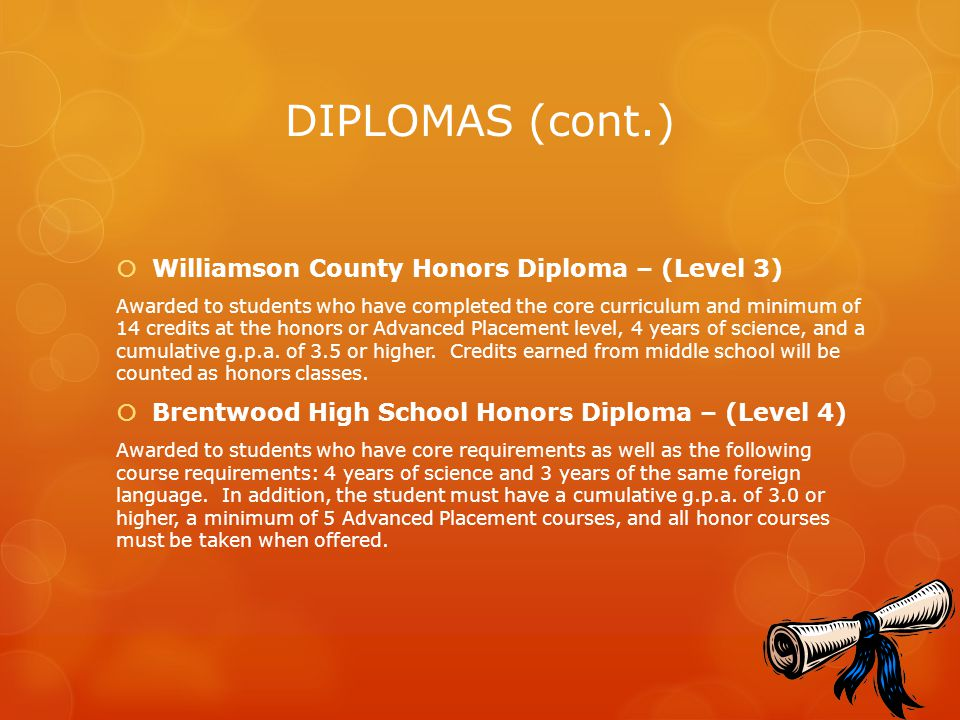 DIPLOMAS (cont.) Williamson County Honors Diploma – (Level 3)