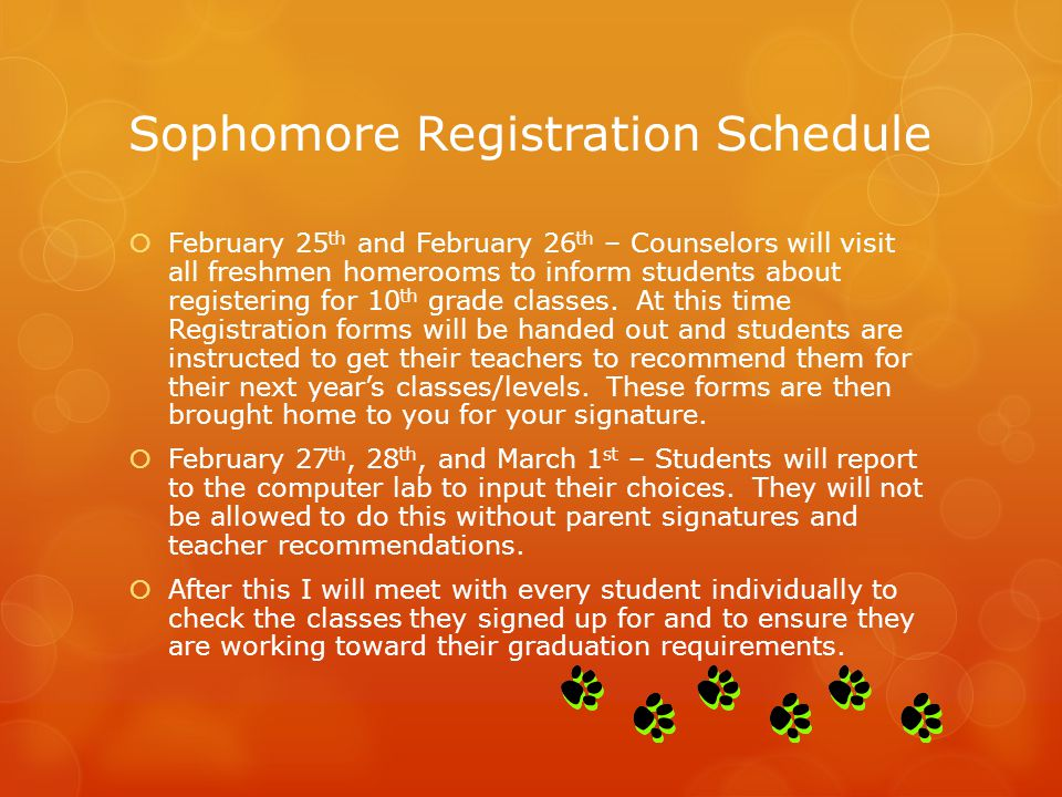 Sophomore Registration Schedule