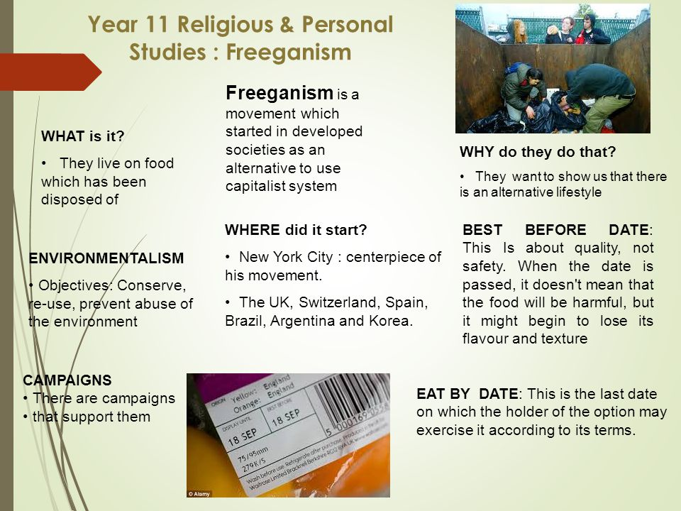 Year 11 Religious & Personal Studies : Freeganism