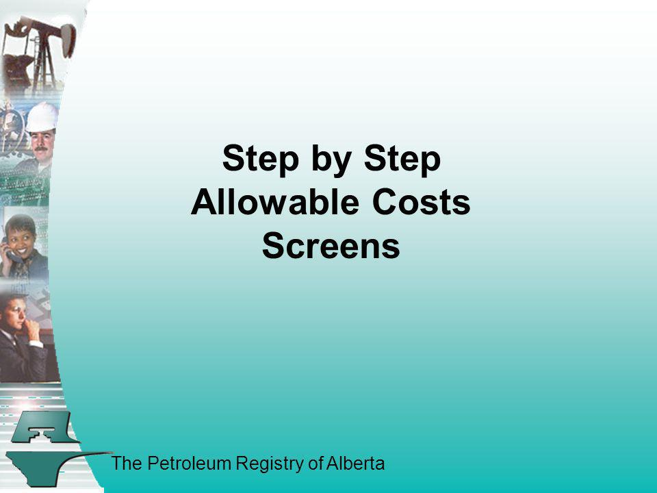 Step by Step Allowable Costs Screens