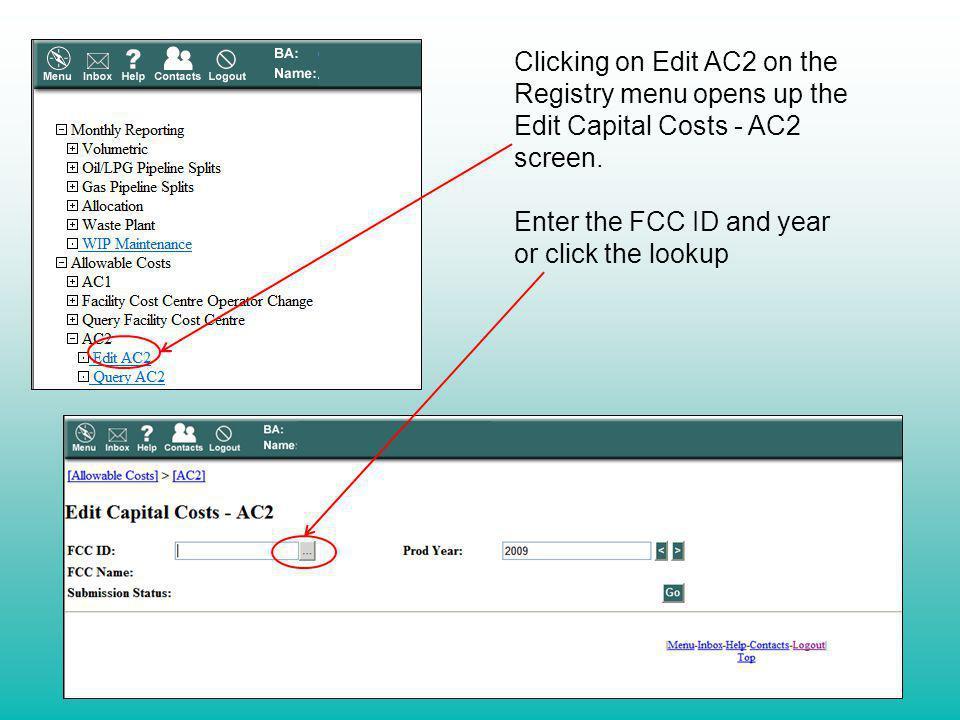 Clicking on Edit AC2 on the Registry menu opens up the Edit Capital Costs - AC2 screen.