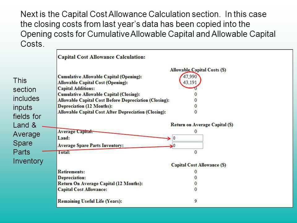 Next is the Capital Cost Allowance Calculation section