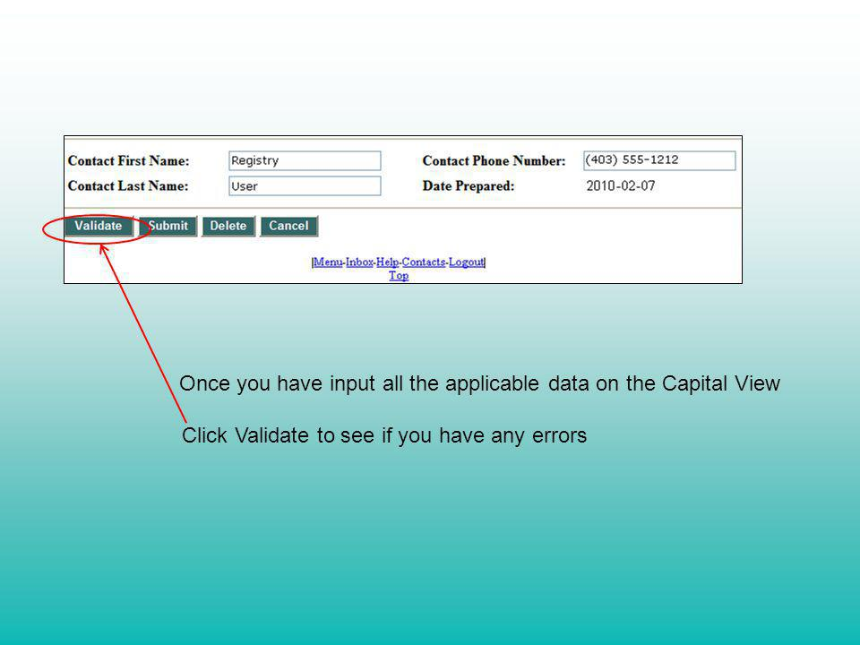 Once you have input all the applicable data on the Capital View