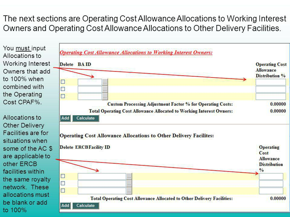 The next sections are Operating Cost Allowance Allocations to Working Interest Owners and Operating Cost Allowance Allocations to Other Delivery Facilities.