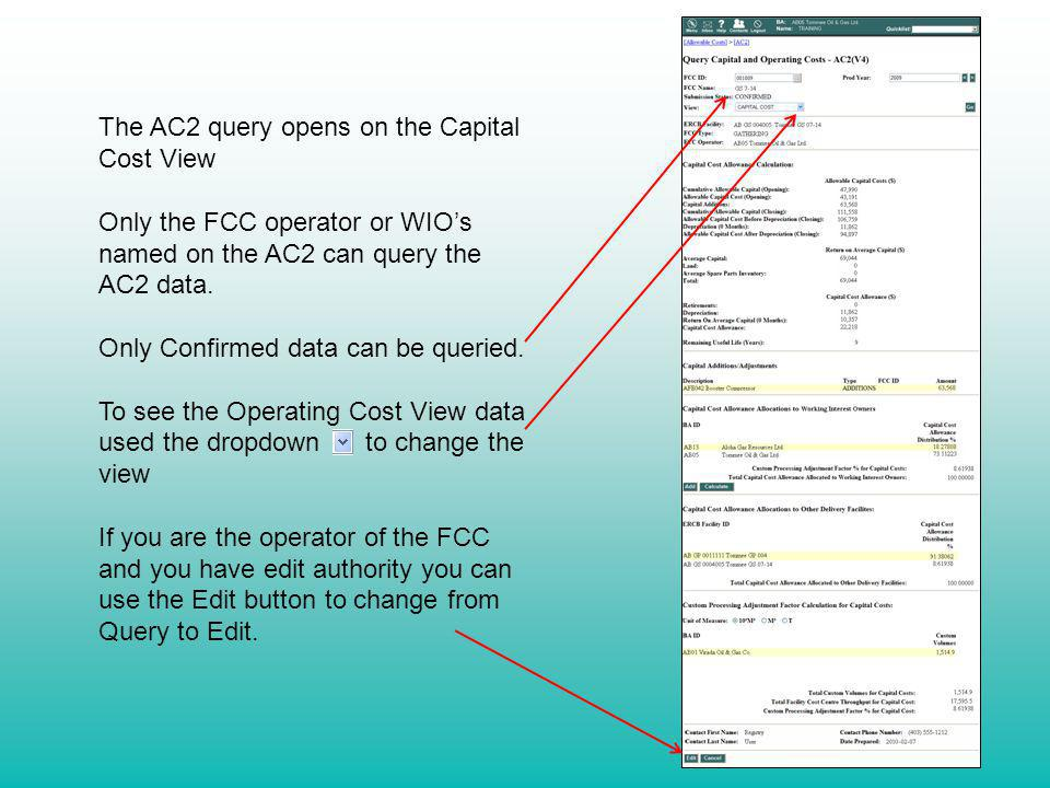 The AC2 query opens on the Capital Cost View
